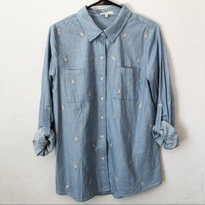 Skies Are Blue Pineapple Embroidered Chambray Top